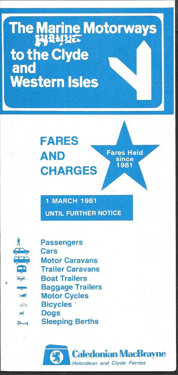 Caledonian MacBrayne - Fares and Charges 1981/3/1 (1/83) - leaflet